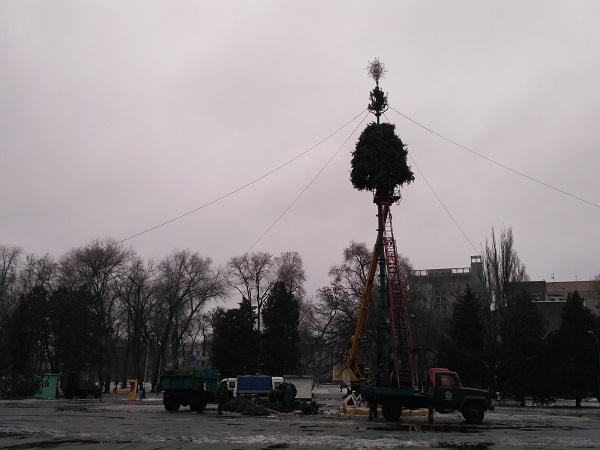 У Дніпрі комунальники встановлюють ялинку у парку Глоби  - фото 1