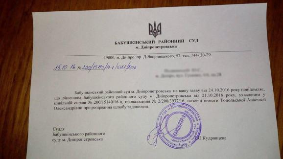 Дівчина Лещенка розлучилась з чоловіком Топольським (ДОКУМЕНТ)  - фото 1
