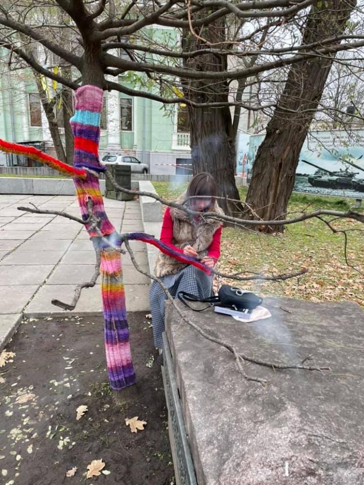 У Дніпрі в'яжуть светри для дерев біля ц…
