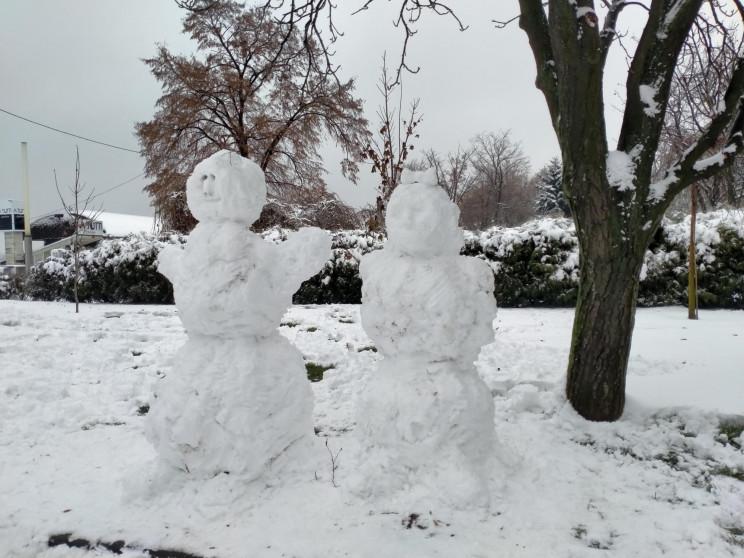 Набережную Днепра украсили снежными руса…