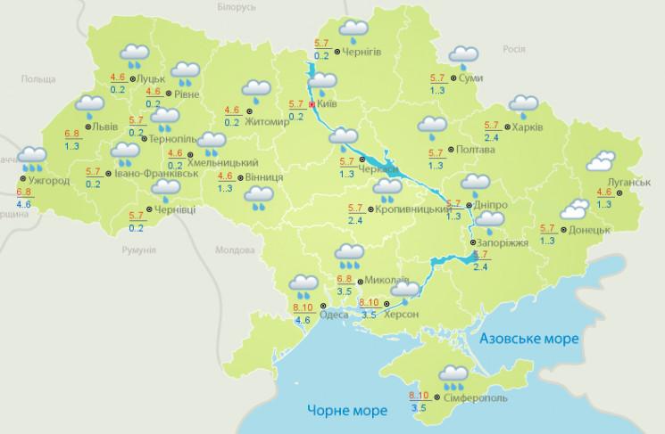 В Україну йдуть дощі і потепління до +11…