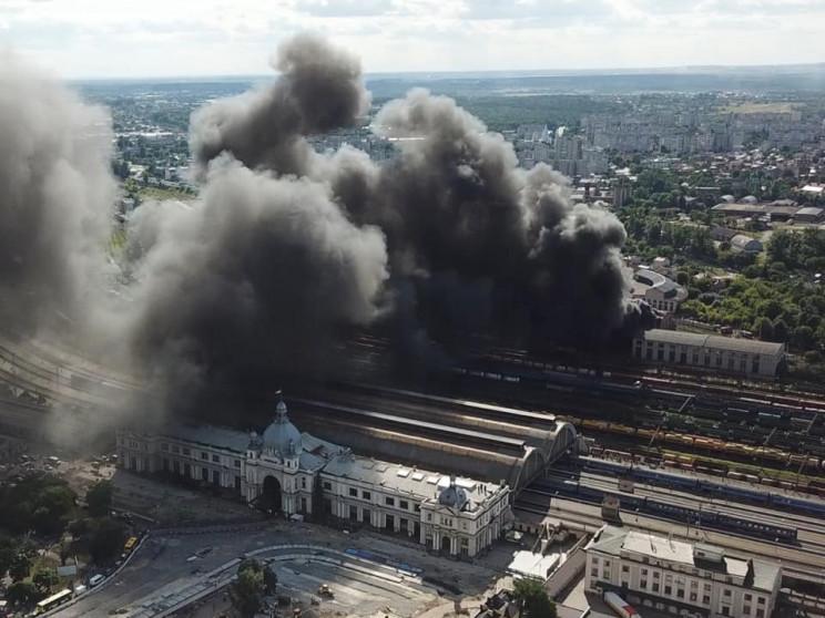 Сильный пожар на львовском вокзале након…