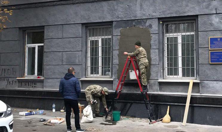 Місце під демонтованим барельєфом Жукову…