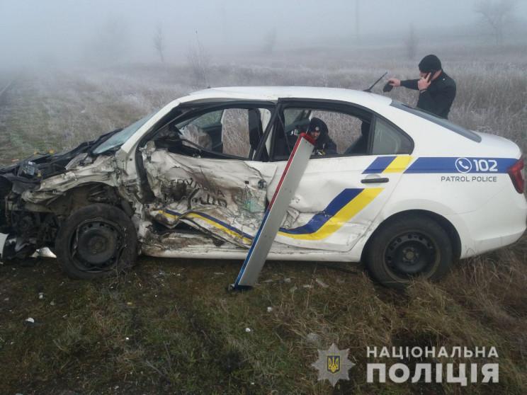 На Херсонщине полицейское авто попало в…