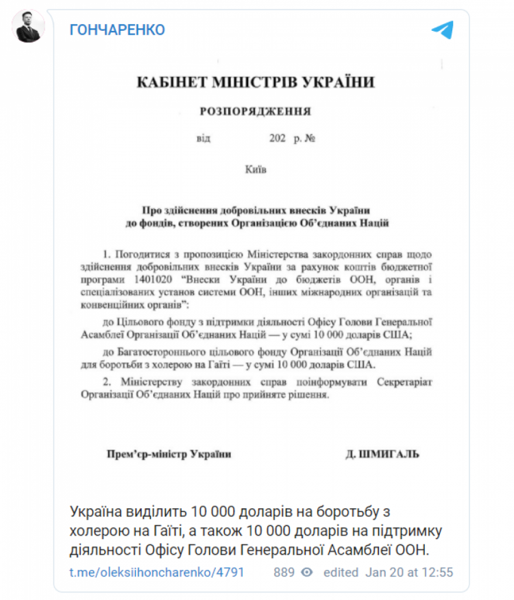 Внесок України у фонди ООН