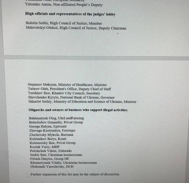 Нескоромний список політиків